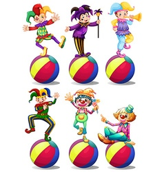 Six characters of clowns vector image vector image