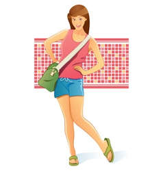 traveling girl with bag vector image