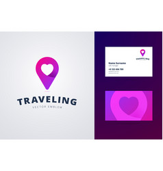 traveling logo and business card template vector image