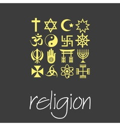 world religions symbols set of green icons eps10 vector image vector image