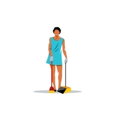 Cleaning service sign Girl with a brush and vector image