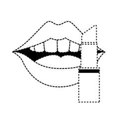 pop art lips with lipstick vector image