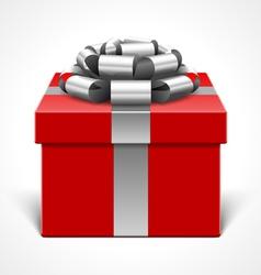 red gift box with gray ribbon vector image vector image