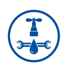round icon of plumbing service vector image vector image