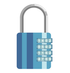 Secure metal lock with numeric code and blue vector