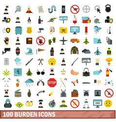 100 burden icons set flat style vector image vector image