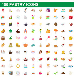 100 pastry icons set cartoon style vector image vector image