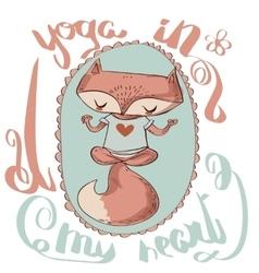 Cute fox enjoys the yoga vector image vector image