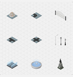 isometric architecture set of plants intersection vector image vector image