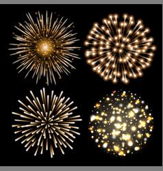 set of golden fireworks vector image