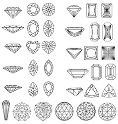 Set of shapes of diamond in wireframe vector image vector image
