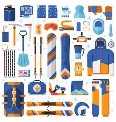 Snowboard and Ski Equipment Set vector image vector image