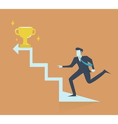 Successful businessman walking up stairs to golden vector image vector image