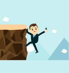 young business man climb the hill to take vector image
