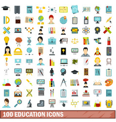 100 education icons set flat style vector image