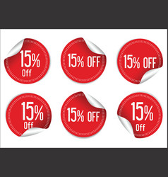 15 percent off red paper sale stickers vector