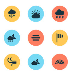 Air icons set collection of night colors breeze vector