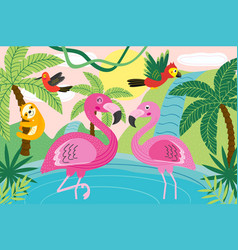 animals in tropical nature vector image