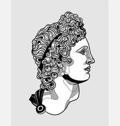 Apollo belvedere sculpture black and white vector