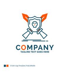 Badge emblem game shield swords logo design blue vector