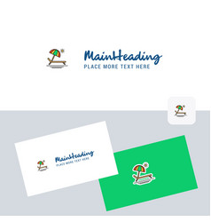 beach logotype with business card template vector image