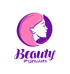 Beauty shop or salon logo makeup cosmetic spa vector
