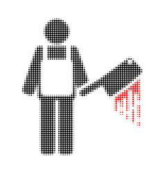 bloody butcher halftone dotted icon vector image