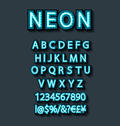 Blue neon character font set on dark background vector