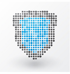 blue shield of the small polka dots vector image