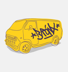 Bronx graffiti tagged yellow american muscle van vector