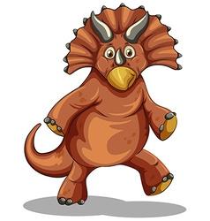 Brown dinosaur on white vector image