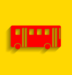 bus simple sign red icon with soft shadow vector image