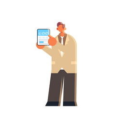 businessman holding tablet with financial diagram vector image