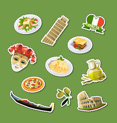 cartoon italian cuisine elements stickers vector image