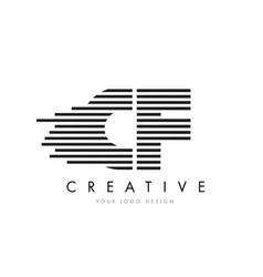 Cf c f zebra letter logo design with black and vector