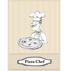 chef with pizza card vector image