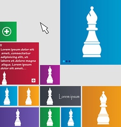 Chess bishop icon sign buttons Modern interface vector