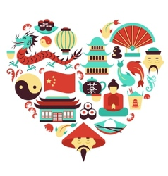 China symbols heart vector