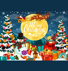 Christmas design with santa snowman and deers vector
