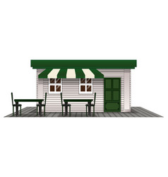 coffee shope with green door and roof vector image