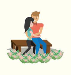 Couple sitting lovely embracing garden vector