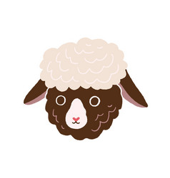 cute little sheep face head portrait of funny vector image
