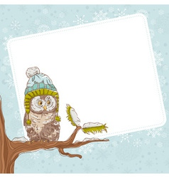 cute winter christmas card an owl in a hat vector image