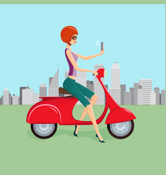 cute woman on red scooter making selfie vector image