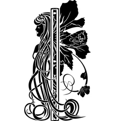 Decorative element in the art nouveau style vector image