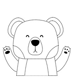 dotted shape adorable bear wild animal of the vector image