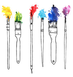 drawing paintbrushes with paint vector image
