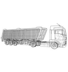 Dump truck tipper lorry on transparent vector