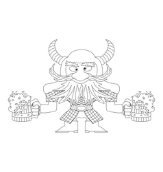 Dwarf with beer mugs contour vector image vector image