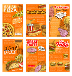 fast food restaurant lunch snack posters vector image